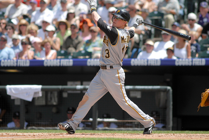20 July 08: Pittsburgh Pirates outfielder Nate McLouth at bat against the Colorado Rockies. The Rockies defeated the Pirates 11-3 at Coors Field in Denver, Colorado. FOR EDITORIAL USE ONLY. FOR EDITORIAL USE ONLY