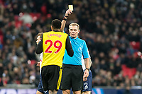 Étienne Capoue of Watford and referee Graham Scott during the Premier League match between Tottenham Hotspur and Watford at Wembley Stadium, London, England on 30 January 2019. Photo by Adamo Di Loreto.<br /> <br /> Editorial use only, license required for commercial use. No use in betting, games or a single club/league/player publications.