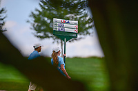 The Cristie Kerr (USA) and Stacy Lewis (USA) score sign through the trees on 1 during Saturday's third round of the 72nd U.S. Women's Open Championship, at Trump National Golf Club, Bedminster, New Jersey. 7/15/2017.<br /> Picture: Golffile | Ken Murray<br /> <br /> <br /> All photo usage must carry mandatory copyright credit (&copy; Golffile | Ken Murray)