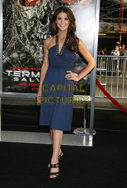 "SAMANTHA HARRIS.""Terminator Salvation"" Los Angeles Premiere held at Grauman's Chinese Theatre, Hollywood, CA, USA..May 14th, 2009.full length purple blue halterneck dress hand on hip .CAP/ADM/MJ.©Michael Jade/AdMedia/Capital Pictures."
