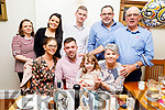 Padraig Leahy from Abbeyfeale celebrating his 30th birthday in Bella Bia on Friday night.<br /> Seated l to r: Sarah Dee, Padraig, Brid and Maggie Leahy.<br /> Back l to r: Kate Leahy, Emer and Kieran Hickey, Sean and Pat Leahy.