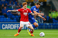 Craig Bryson of Cardiff City contends with Jack Colback of Nottingham Forest during the Sky Bet Championship match between Cardiff City and Nottingham Forest at the Cardiff City Stadium, Wales, UK. Saturday 21 April 2018