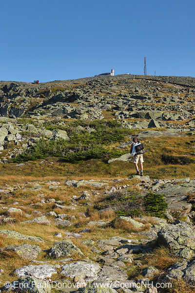 Hiker on the Appalachian Trail (Gulfside Trail) in the White Mountains, New Hampshire. Mount Washington is in the background. One of the trains of the Cog Railroad can be seen to the left of the Sherman Adams building.
