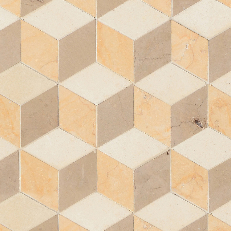 Euclid Grand, a hand-cut mosaic shown in honed Ivory Cream, Lagos Gold, and Sylvia Gold, is part of the Illusions® collection by New Ravenna.