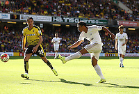 Jefferson Montero of Swansea shoots at the goal     during the Barclays Premier League match Watford and Swansea   played at Vicarage Road Stadium , Watford