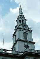 James Gibbs: St. Martin-in-the-Fields, London 1721-26. Tall steeple with gold crown. Photo '90.