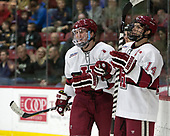 Adam Fox (Harvard - 18), Alexander Kerfoot (Harvard - 14) - The Harvard University Crimson defeated the St. Lawrence University Saints 6-3 (EN) to clinch the ECAC playoffs first seed and a share in the regular season championship on senior night, Saturday, February 25, 2017, at Bright-Landry Hockey Center in Boston, Massachusetts.