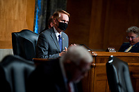 """United States Senator James Lankford (Republican of Oklahoma), prepares for a US Senate Homeland Security and Governmental Affairs business meeting to consider a motion to authorize the Chairman to issue notices for taking depositions, subpoenas for records, and subpoenas for testimony, to individuals relating to the Federal Bureau of Investigation's Crossfire Hurricane Investigation; the DOJ Inspector General's review of that investigation; and the """"unmasking"""" of U.S. persons affiliated with the Trump campaign, transition team, and Trump administration, as described in Schedule A (Items 1-3), and the nominations of John Gibbs, of Michigan, to be Director of the Office of Personnel Management, and John M. Barger, of California, Christopher Bancroft Burnham, of Connecticut, and Frank Dunlevy, of California, each to be a Member of the Federal Retirement Thrift Investment Board.in the Dirksen Senate Office Building on Capitol Hill in Washington, DC., Wednesday, September 16, 2020. <br /> Credit: Rod Lamkey / CNP /MediaPunch"""