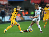 4th November 2017, Liberty Stadium, Swansea, Wales; EPL Premier League football, Swansea City versus Brighton and Hove Albion; Anthony Knockaert of Brighton makes a move on Sam Clucas of Swansea City
