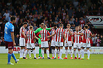 Team before kick off during the English League One match at Glanford Park Stadium, Scunthorpe. Picture date: September 24th, 2016. Pic Simon Bellis/Sportimage