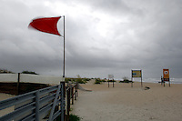 RICK WILSON PHOTO--8/20/08--A hurricane warning flag flutters in a steady wind as tropical storm Fay approaches northeast Florida and the Jacksonville area Wednesday afternoon August 20, 2008.