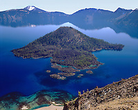 Islands and shoreline around Wizard Island as viewed from near The Watchman; Crater Lake National Park, OR