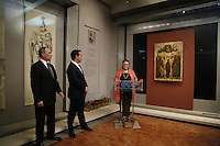 Pictured: Vladimir Putin and Alexis Tsipras are introduced by a museum representative Friday 27 May 2016<br />