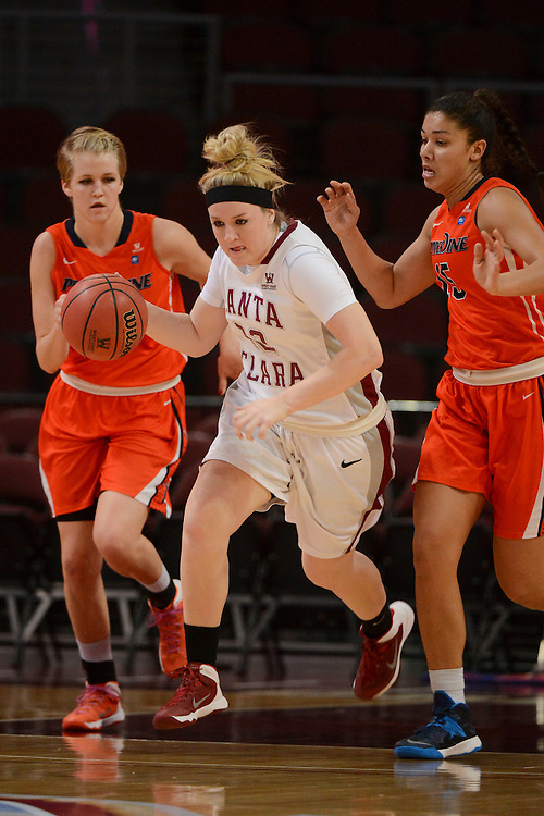 March 6, 2014; Las Vegas, NV, USA; Santa Clara Broncos forward Jo Paine (32) dribbles against the Pepperdine Waves during the first half of the WCC Basketball Championships at Orleans Arena. The Waves defeated the Broncos 80-74.
