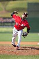 Kannapolis Intimidators relief pitcher Kelvis Valerio (26) delivers a pitch to the plate against the Lakewood BlueClaws at CMC-Northeast Stadium on May 17, 2015 in Kannapolis, North Carolina.  The Intimidators defeated the BlueClaws 4-1.  (Brian Westerholt/Four Seam Images)