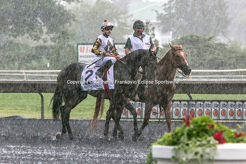 August 15, 2015. Whatsdachances and jockey Joe Bravo during the post parade of the G1 Beverly D..Katherin Frankovic/ESW/CSM