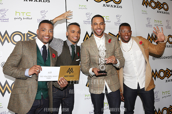 Marvin Humes, Oritse William, Aston Merrygold and Jonathan 'JB' Gill of JLS in the press room for The MOBO awards 2012 held at the Echo Arena, Liverpool. 03/11/2012 Picture by: Henry Harris / Featureflash