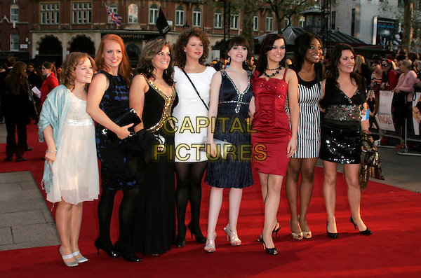 "NANCY CONTESTANTS FROM BBC'S ""I'D DO ANYTHING"" .World premiere of ""What Happens In Vegas"" held at the Odeon Leicester Square, London, England. .April 22nd 2008 .full length dress red black white sheer striped stripes .CAP/AH.©Adam Houghton/Capital Pictures."