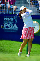 Inbee Park (KOR) watches her tee shot on 1 during Sunday's final round of the 2017 KPMG Women's PGA Championship, at Olympia Fields Country Club, Olympia Fields, Illinois. 7/2/2017.<br /> Picture: Golffile | Ken Murray<br /> <br /> <br /> All photo usage must carry mandatory copyright credit (&copy; Golffile | Ken Murray)