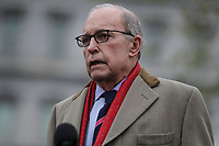 Director of the United States National Economic Council Larry Kudlow talks to members of the media at the White House in Washington, DC on March 24, 2020.<br /> Credit: Oliver Contreras / Pool via CNP/AdMedia