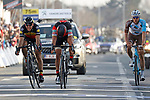 Greg Van Avermaet (BEL) BMC Racing Team outsprints  Philippe Gilbert (BEL) Quick-Step Floors and Oliver Naesen (BEL) AG2R La Mondiale to win the 60th edition of the Record Bank E3 Harelbeke 2017, Flanders, Belgium. 24th March 2017.<br /> Picture: Yuzuru Sunada | Cyclefile<br /> <br /> <br /> All photos usage must carry mandatory copyright credit (&copy; Cyclefile | Yuzuru Sunada)