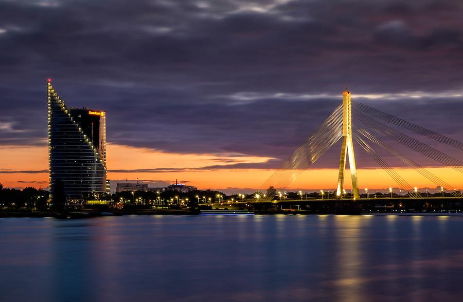 RIGA, LATVIA - CIRCA MAY 2014: Vansu Bridge over the Daugava river at night in  Riga.