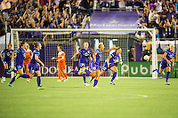 Orlando, Florida - Saturday, April 23, 2016: Orlando Pride forward Lianne Sanderson (10) scores a free kick and celebrates during an NWSL match between Orlando Pride and Houston Dash at the Orlando Citrus Bowl.