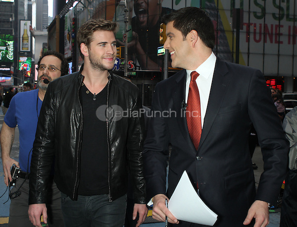 March 20, 2012. Liam Hemsworth and Josh Elliot at Good Morning America in New York City. Credit: RW/Mediapunchinc.com