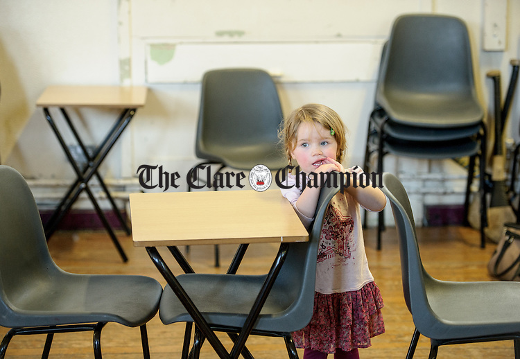 Little Molly Lynch of Ennis was at the Clare Community games chess county finals in St Flannan's college, Ennis. Photograph by John Kelly.