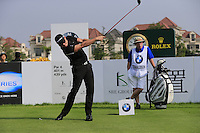 Jamie Donaldson (WAL) tees off the 1st tee to start his match during Sunday's Final Round of the 2014 BMW Masters held at Lake Malaren, Shanghai, China. 2nd November 2014.<br /> Picture: Eoin Clarke www.golffile.ie