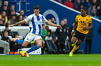 Brighton &amp; Hove Albion's Lewis Dunk (left) under pressure from Wolverhampton Wanderers' Ivan Cavaleiro (right) <br /> <br /> Photographer David Horton/CameraSport<br /> <br /> The Premier League - Brighton and Hove Albion v Wolverhampton Wanderers - Saturday 27th October 2018 - The Amex Stadium - Brighton<br /> <br /> World Copyright &copy; 2018 CameraSport. All rights reserved. 43 Linden Ave. Countesthorpe. Leicester. England. LE8 5PG - Tel: +44 (0) 116 277 4147 - admin@camerasport.com - www.camerasport.com