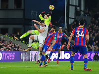 Crystal Palace's Wayne Hennessey is fouled by Burnley's Sam Vokes<br /> <br /> Photographer Ashley Crowden/CameraSport<br /> <br /> The Premier League - Crystal Palace v Burnley - Saturday 13th January 2018 - Selhurst Park - London<br /> <br /> World Copyright &copy; 2018 CameraSport. All rights reserved. 43 Linden Ave. Countesthorpe. Leicester. England. LE8 5PG - Tel: +44 (0) 116 277 4147 - admin@camerasport.com - www.camerasport.com