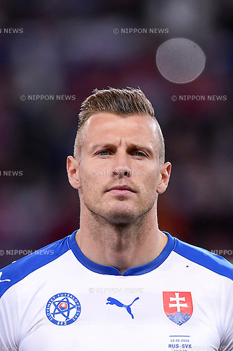Jan Durica (Slovakia) ; <br /> June 15, 2016 - Football : Uefa Euro France 2016, Group B, Russia 1-2 Slovakia at Stade Pierre Mauroy, Lille Metropole, France. (Photo by aicfoto/AFLO)