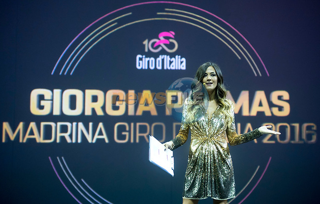 Giorgia Palmas on stage at the 100th edition Giro d`Italia 2017 route presentation held at the Ice Palace in Milan, 25th October 2016.<br /> Picture: ANSA/Claudio Peri | Newsfile<br /> <br /> <br /> All photos usage must carry mandatory copyright credit (&copy; Newsfile | ANSA/Claudio Peri)
