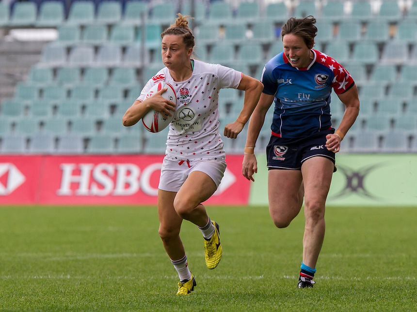 Natasha Brennan in action, World Rugby Women's HSBC Sevens Series, Clermont Ferrand, Day 2, at Stade Gabriel Montpied, Clermont Ferrand, France, on 29th May 2016