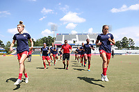 Cary, North Carolina  - Saturday August 19, 2017: Washington Spirit players warm up prior to a regular season National Women's Soccer League (NWSL) match between the North Carolina Courage and the Washington Spirit at Sahlen's Stadium at WakeMed Soccer Park. North Carolina won the game 2-0.