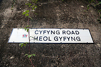 Pictured: Cyfyng Road sign. Thursday 31 August 2017<br /> Re: Home owners and tennants have been served to evacuation orders by Neath Port Talbot County Council over fears that a landslip has made their houses unsafe in Cyfyng Road, Ystalyfera, Wales, UK.