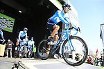 Hector Carretero (ESP) Movistar Team at sign on before the 2019 E3 Harelbeke Binck Bank Classic 2019 running 203.9km from Harelbeke to Harelbeke, Belgium. 29th March 2019.<br /> Picture: Eoin Clarke | Cyclefile<br /> <br /> All photos usage must carry mandatory copyright credit (© Cyclefile | Eoin Clarke)