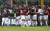 Calcio, Serie A: Milano, stadio Giuseppe Meazza, 15 ottobre 2017.<br /> Milan's Fernandez Suso celebrates after scoring with his teammates during the Italian Serie A football match between Inter and Milan at Giuseppe Meazza (San Siro) stadium, October15, 2017.<br /> UPDATE IMAGES PRESS/Isabella Bonotto