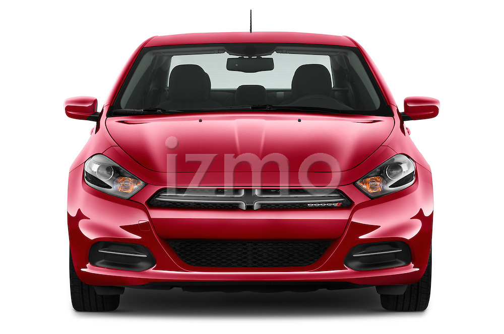Car photography straight front view of a 2015 Dodge Dart SE 4 Door Sedan Front View