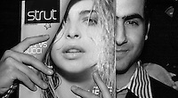 April 10 2003, Montreal, Quebec, Canada<br /> <br /> holds the first copy of STRUT, a new fashion/lifestyle magazine, during the launch party held at The Rialto,  april 10, 2003<br />  in Montreal, Canada.<br /> <br /> NO MODEL RELEASE - Editorial related to this event only<br /> <br /> Mandatory Credit: Photo by Pierre Roussel- Images Distribution. (©) Copyright 2003 by Pierre Roussel <br /> <br /> NOTE : <br />  Nikon D-1 jpeg opened with Qimage icc profile, saved in Adobe 1998 RGB<br /> .Uncompressed  Original  size  file availble on request.