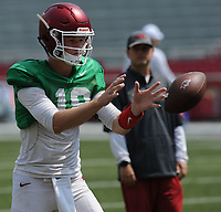 NWA Democrat-Gazette/ANDY SHUPE<br /> Arkansas quarterback Jack Lindsey receives the ball Saturday, Aug. 5, 2017, prior to the start of a scrimmage in Razorback Stadium in Fayetteville. Visit nwadg.com/photos to see more photographs from the practice.