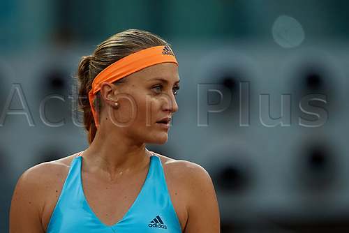May 12th 2017, Caja Magica, Madrid, Spain; Mutua Madrid Open tennis tournament; Kristina Mladenovic of France looks on as she wins against Svetlana Kuznetsova of Russia in 2 sets