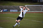 Home forward Ross Allum in second-half action in the Scottish pyramid play-off second leg between Edinburgh City (in white) and Cove Rangers at the Commonwealth Stadium at Meadowbank in Edinburgh. The match between the champions of the Lowland and Highland Leagues determined which club would play-off against East Stirlingshire for a place in the Scottish league. The second leg ended 1-1, giving Edinburgh City a 4-1 aggregate win.