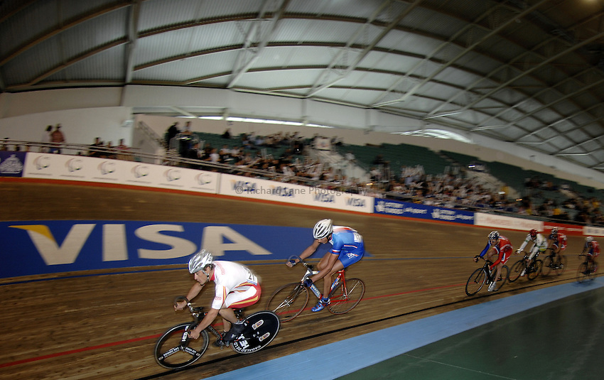 Photo: Richard Lane..VISA Paralympic World Cup 2007. Track Cycling. 11/05/2007. .7.5km scratch race, male.