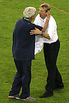 04 July 2006: Head coach Marcello Lippi (ITA) (left) exchanges friendly words with head coach Juergen Klinsmann (GER) (right), postgame. Italy defeated Germany 2-0 in overtime at Signal Iduna Park, better known as Westfalenstadion, in Dortmund, Germany in match 61, the first semifinal game, in the 2006 FIFA World Cup.