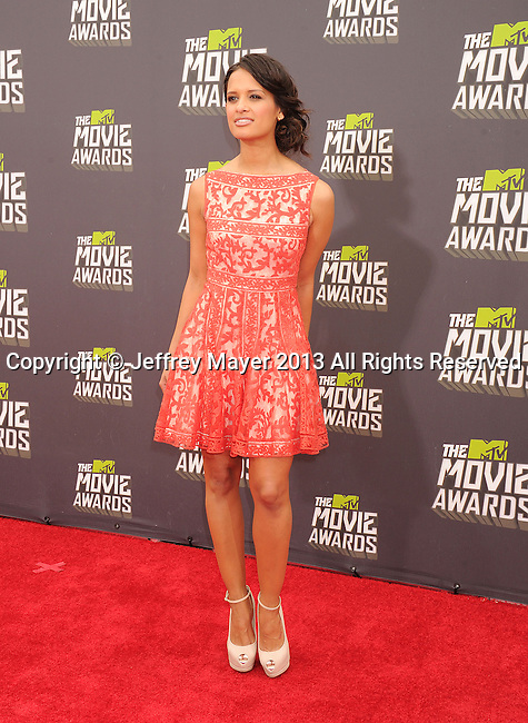 CULVER CITY, CA- APRIL 14: TV personality Rocsi Diaz arrives at the 2013 MTV Movie Awards at Sony Pictures Studios on April 14, 2013 in Culver City, California.