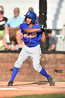 Kingsport Mets center fielder Raphael Ramirez (21) swings at a pitch during a game against the  Johnson City Cardinals on June 25, 2015 in Johnson City, Tennessee. The Mets defeated the Cardinals 10-8 (Tony Farlow/Four Seam Images)