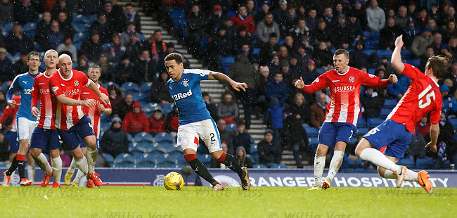 It's the parting of the red sea as James Tavernier strides through the visiting defence
