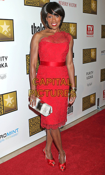 Regina King.The 2nd Annual Critics' Choice Television Awards held at The Beverly Hilton in Beverly Hills, California, USA..June 18th, 2012.full length dress  clutch bag grey gray red lace one shoulder .CAP/ADM/RE.©Russ Elliot/AdMedia/Capital Pictures.